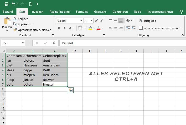 Excel alles selecteren met CTRLA
