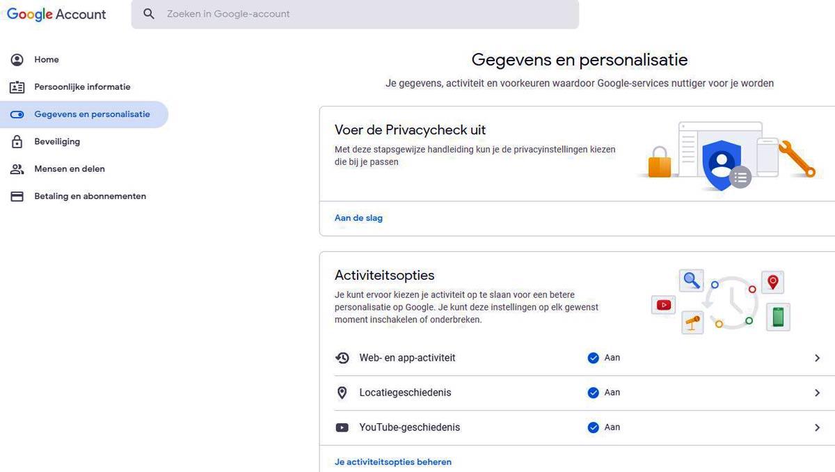google gegevens en personalisatie