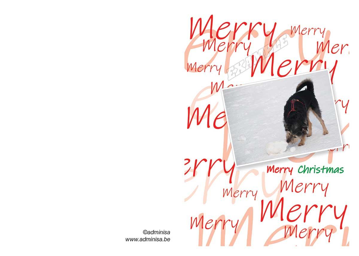 Vouwkaart Hondje Merry Christmas