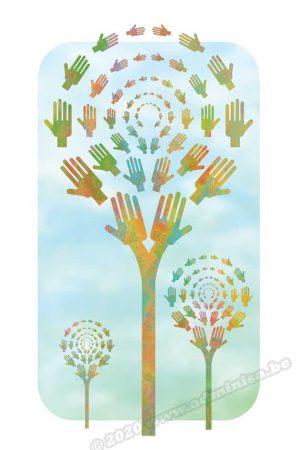 Postkaart multicolor handjes